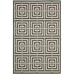 Poolside Black/ Bone Indoor Outdoor Rug (6'7 x 9'6)