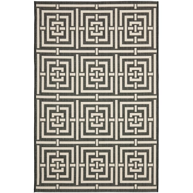 Safavieh Poolside Black/ Bone Indoor Outdoor Rug (9' x 12')