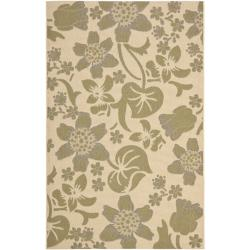 "Poolside Cream/Green Indoor/Outdoor Bordered Rug (6'7"" x 9'6"")"