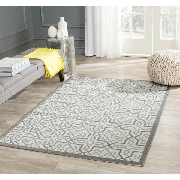"Safavieh Light Gray/Anthracite Indoor/Outdoor Border Rug (4' x 5'7"")"