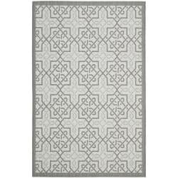 Light Grey/Anthracite Indoor Outdoor Synthetic Rug (6'7 x 9'6)