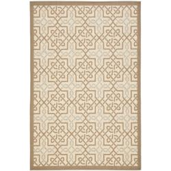 Poolside Beige/ Dark Beige Indoor Outdoor Border Rug (5'3 x 7'7)