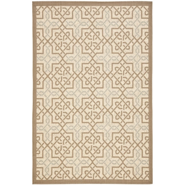 Safavieh Poolside Beige/Dark Beige Indoor/Outdoor Contemporary Rug (6'7 x 9'6)