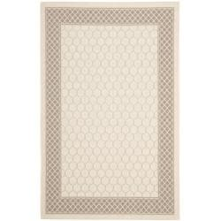 Poolside Beige/Dark Beige Indoor/Outdoor Lattice-Pattern Rug (6'7 x 9'6)