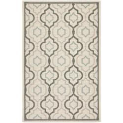 "Poolside Beige/Dark Beige Indoor/Outdoor Bordered Rug (4' x 5'7"")"