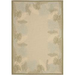 Safavieh Border Poolside Cream/ Green Indoor Outdoor Rug (5'3 x 7'7)