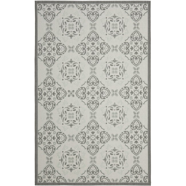 "Safavieh Light Grey/Anthracite Border Indoor/Outdoor Rug (5'3"" x 7'7"")"