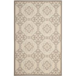 Poolside Beige/Dark Beige Indoor/Outdoor Floral Rug (6'7 x 9'6)