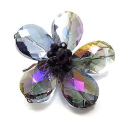 Beautiful Rainbow Daisy Glass Floral Prism Pin-Brooch (Thailand)