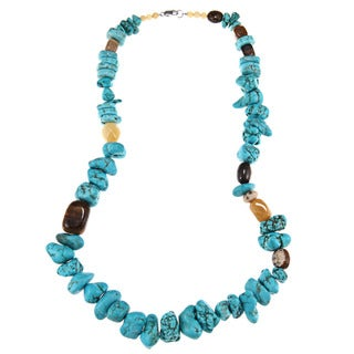 Turquoise Magnesite and Multi-gemstone 30-inch Necklace