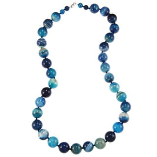 Blue Agate Bead 30-inch Necklace