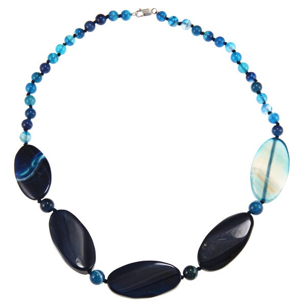 Blue Agate Bead 24-inch Necklace
