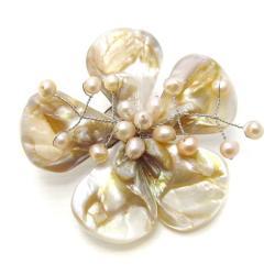 Natural Shells Five Petal Beauty Floral Pin-Brooch (Thailand)