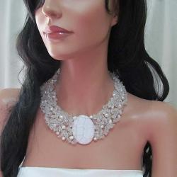 Cluster Delight White Granite Pendant Clear Quartz Beaded Necklace (Philippines)
