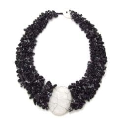 Cluster Delight White Granite Pendant Black Onyx Beaded Necklace (Philippines)