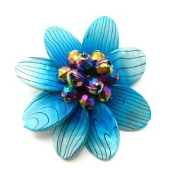 Blue Zebra Print Mother of Pearl Floral Swirl Pin-Brooch (Thailand)