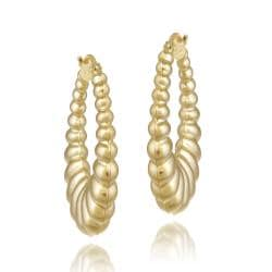 Mondevio 18-karat Yellow-gold-over-silver Shrimp-design Dangle Hoop Earrings