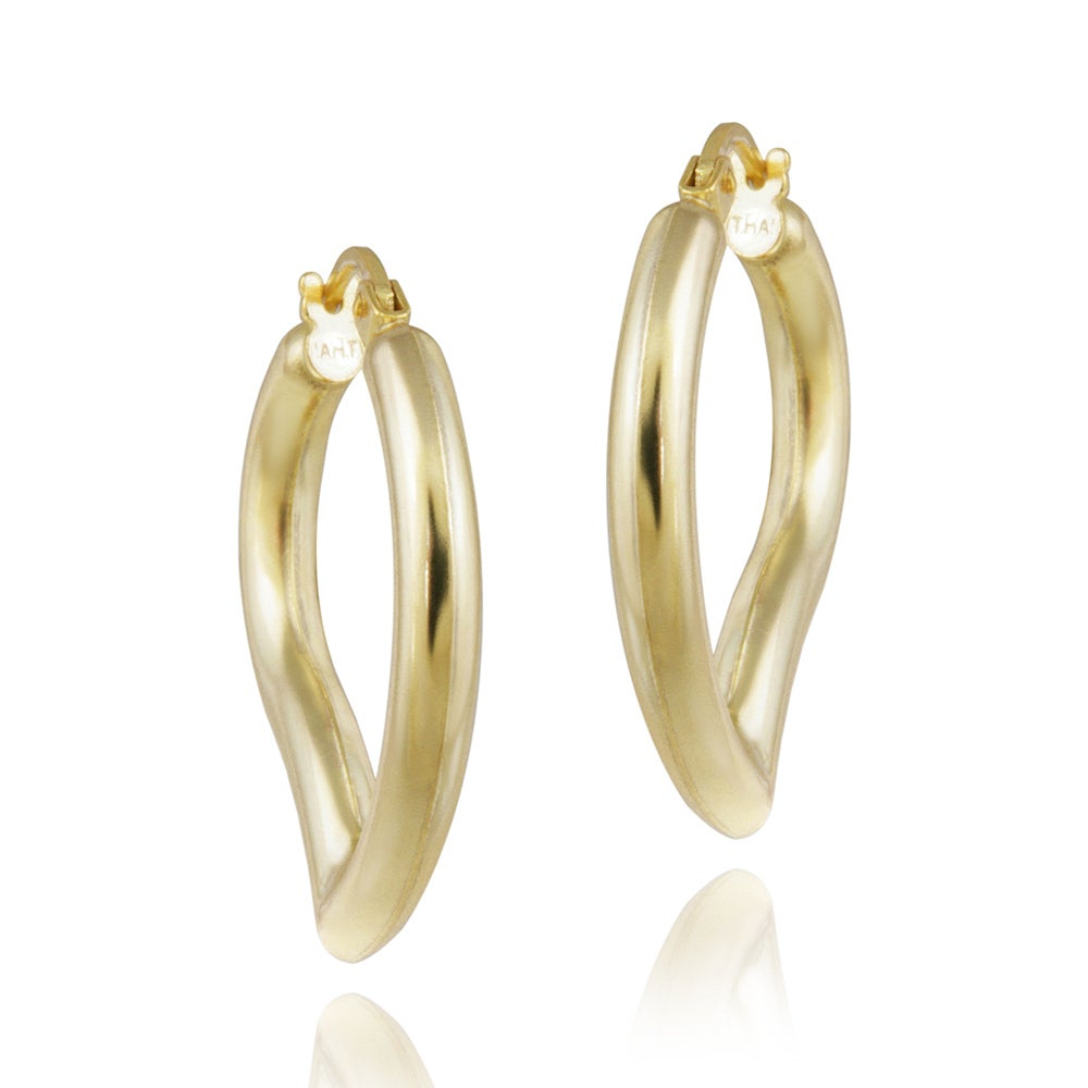Mondevio 18k Yellow Gold over Silver Leaf Hoop Earrings