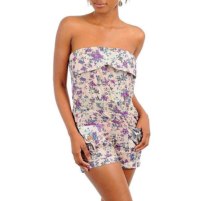 Stanzino Women's Sand/Purple Strapless Floral Romper