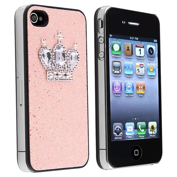 Light Pink Glitter with Crown Rear Case for Apple iPhone 4/ 4S