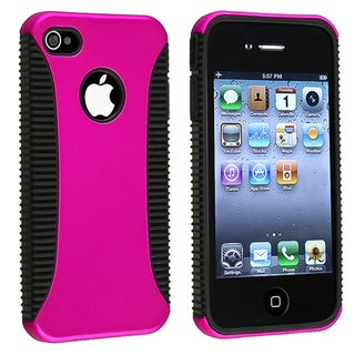INSTEN Black TPU/ Pink Hard Plastic Hybrid Phone Case Cover for Apple iPhone 4/ 4S