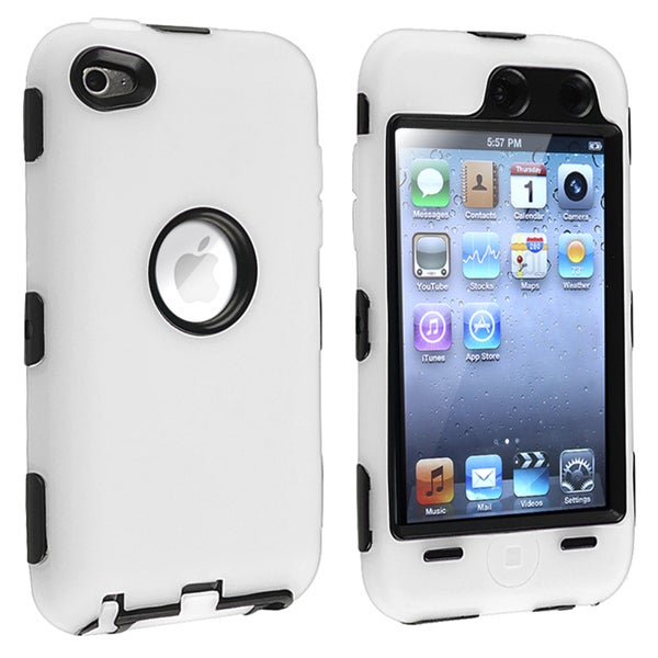 Black/ White Hybrid Case for Apple iPod Touch 4th Generation