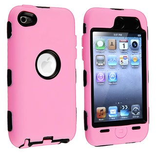 Shock-Absorbent Black/Pink Hybrid Case for Apple iPod Touch 4th Generation