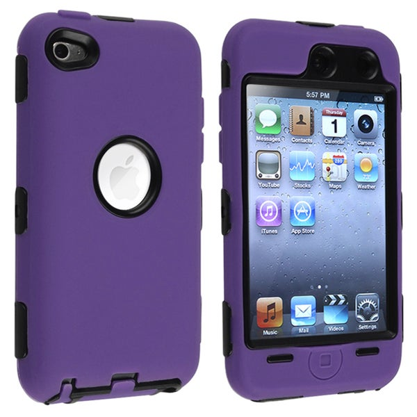 Black/ Purple Hybrid Case for Apple iPod Touch 4th Generation