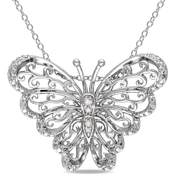 Haylee Jewels Sterling Silver Diamond Accent Mom Butterfly Necklace