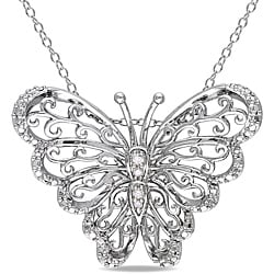 M by Miadora Sterling Silver Diamond Accent Mom Butterfly Necklace