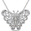Miadora Sterling Silver Diamond Accent Mom Butterfly Necklace