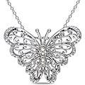 Miadora Sterling Sliver Diamond Accent Mom Butterfly Necklace