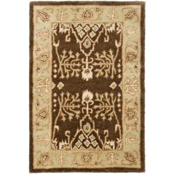 Handmade Tree of Life Brown/ Light Green Wool Rug (2' x 3')
