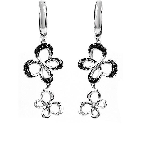 Bridal Symphony Sterling Silver 1/4ct Black Diamond Butterfly Earrings