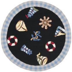 Safavieh Hand-hooked Nautical Black Wool Rug (3' Round)