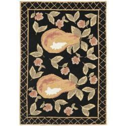 Hand-hooked Pears Black Wool Rug (1'8 x 2'6)