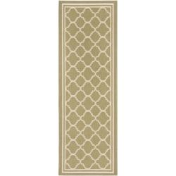 "Poolside Green/Beige Indoor Outdoor Runner Rug (2'4"" x 6'7"")"