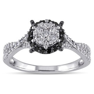 Miadora 10k White Gold 1/2ct TDW Black and White Diamond Halo Ring
