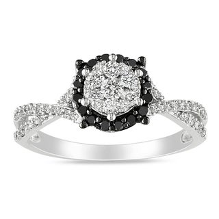 Miadora 10k White Gold 1/2ct TDW Round-cut Black and White Diamond Halo Ring (H-I, I2-I3)
