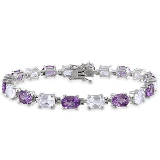 Miadora Sterling Silver 19 3/4ct TGW Amethyst and White Sapphire Bracelet