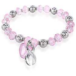 West Coast Jewelry Stainless Steel Pink Crystal Heart Breast Cancer Awareness Bracelet