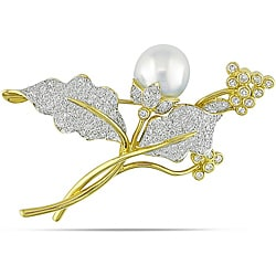 Miadora 18k Gold South Sea Pearl and 2 3/4ct TDW Diamond Brooch (H-I, SI1-SI2)