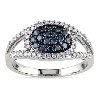 Miadora Sterling Silver 1/2ct TDW Blue and White Diamond Ring (H-I, I3)
