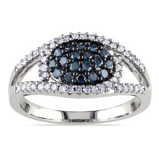 Haylee Jewels Sterling Silver 1/2ct TDW Blue and White Diamond Ring (H-I, I3)