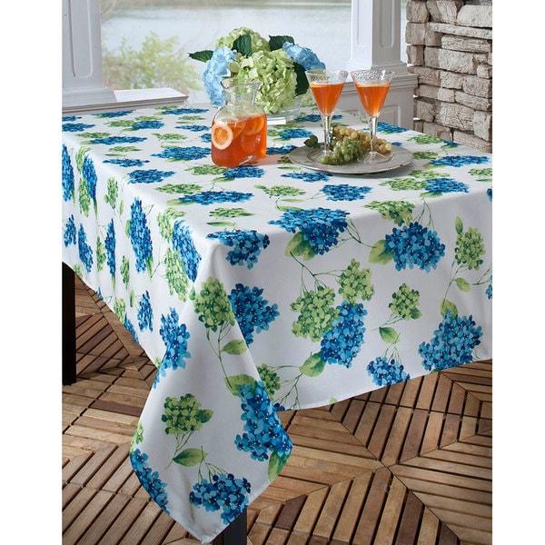 Hydrangea Printed Indoor/Outdoor 70-inch Round Tablecloth ...