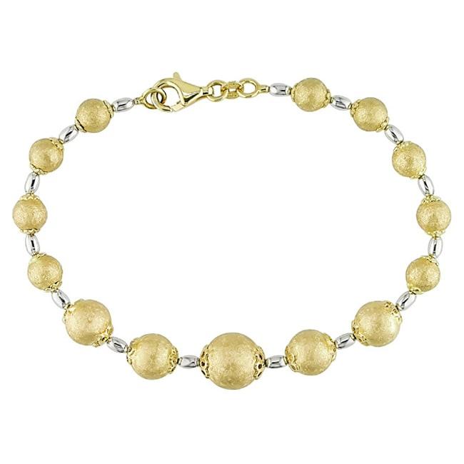 Miadora 14k Two-tone Gold Graduated Ball 7.5-inch Bracelet