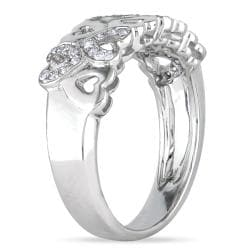 Miadora 14k White Gold 1/5ct TDW Diamond Heart Ring (H-I, I1-I2)