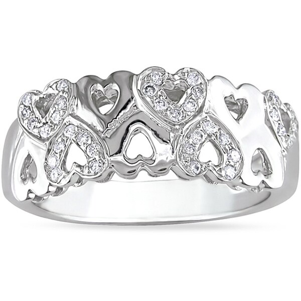 Miadora 14k White Gold 1/5ct TDW Diamond Heart Ring (H-I, I1-I2)