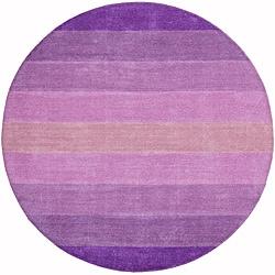 Hand-tufted Purple Stripe Wool Rug (8' Round)
