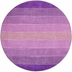 Hand-tufted Purple Stripe Wool Rug (6' Round)